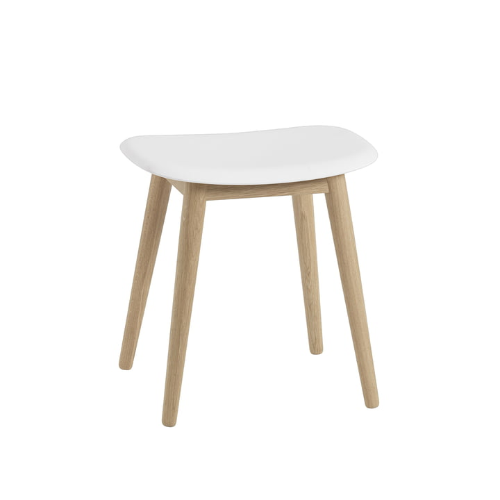 Fiber Stool / Wood Base by Muuto in Natural Oak / White