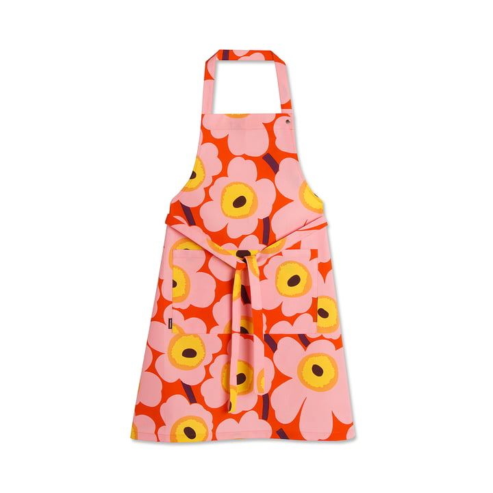 Marimekko - Pieni Unikko Apron, orange / pink / yellow