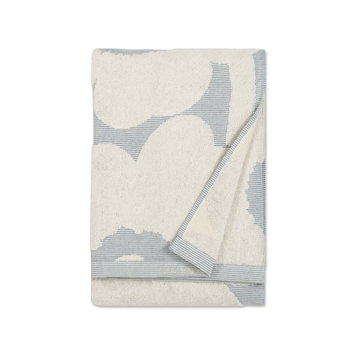 Marimekko - Unikko Jacquard Bath Towel 70 x 150 cm, cream white / blue