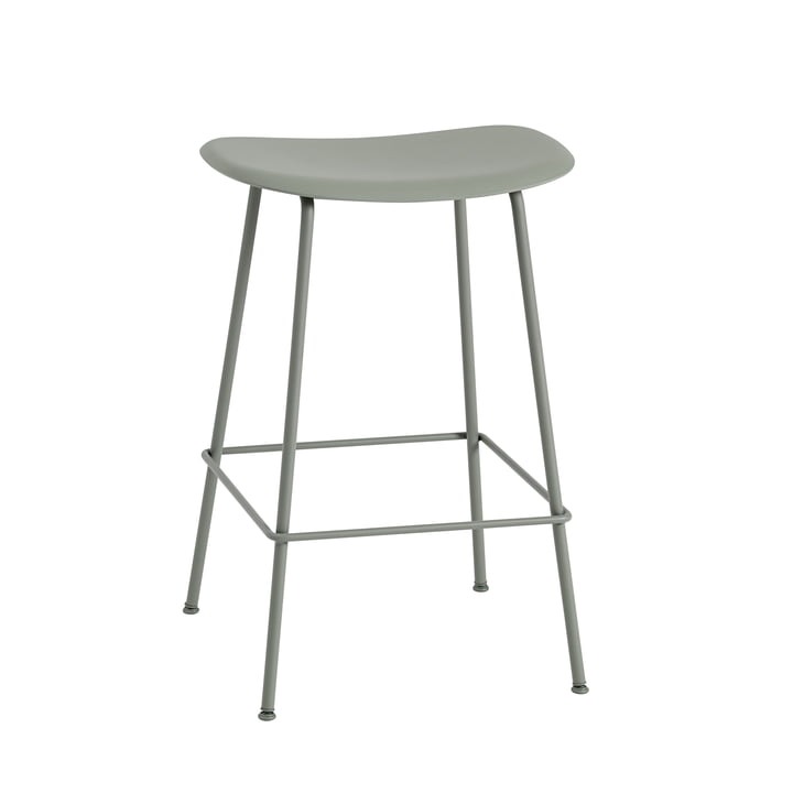 Fiber Bar Stool Tube Base H65 by Muuto in Grey