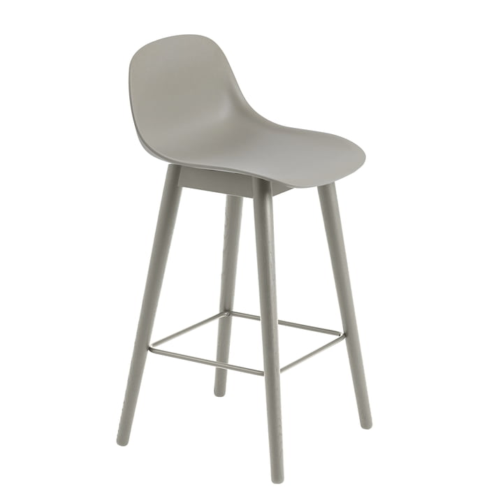 Fiber Bar Stool with Backrest / Metal Base H65 by Muuto in Grey