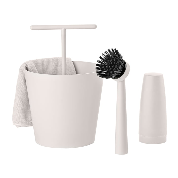 Zone Denmark - Bucket Dishwashing Set in Warm Grey (4 piece)