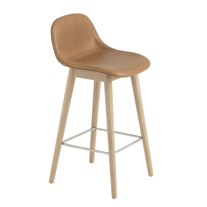 Fiber Bar Stool with Backrest / Wood Base H65 by Muuto in Natural Oak / Cognac Leather