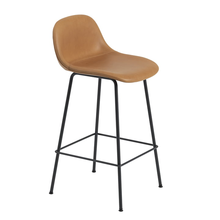 Fiber Bar Stool with Backrest / Metal Base H65 by Muuto in Black / Cognac Leather