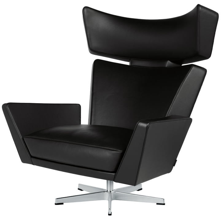 Fritz Hansen - Oksen Armchair in Classic Black Leather / Brushed Base