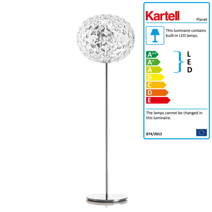 Kartell - Planet LED Standard Lamp with Dimmer, H 160 cm / clear glass