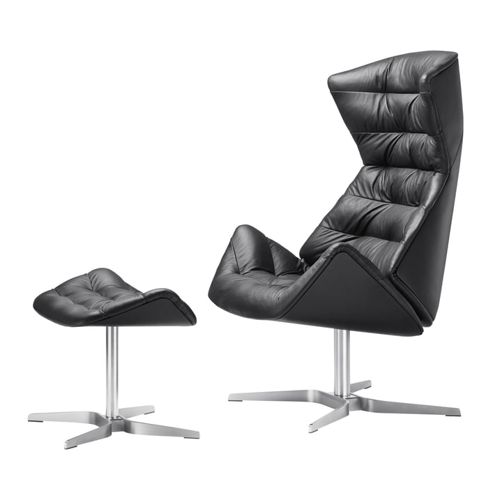 Thonet - 808 Lounge Chair, stainless steel frame / nappa leather (500 black) + free 808 stool