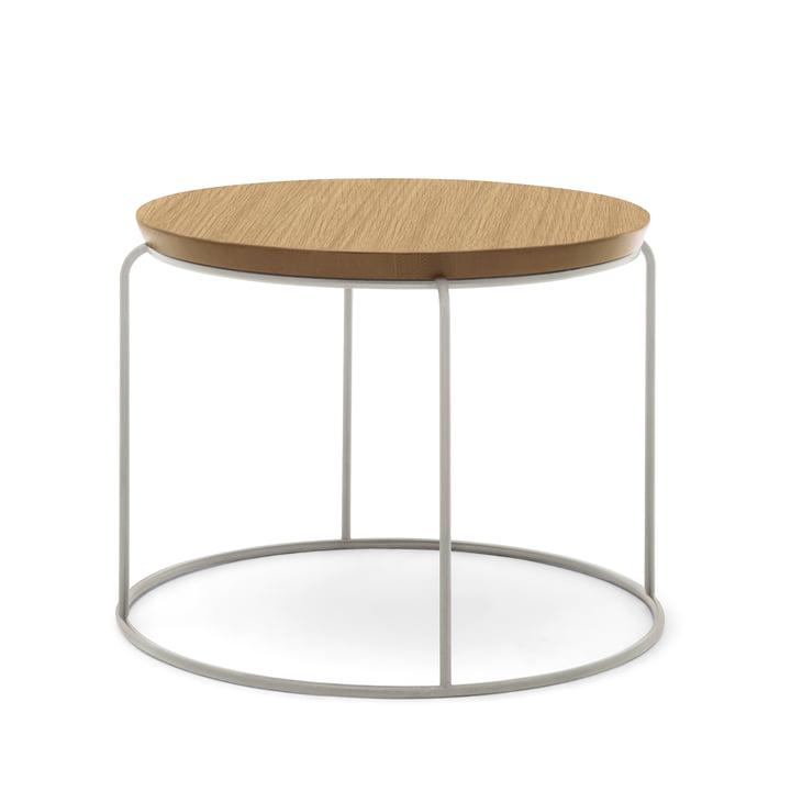 Freistil - 151 Coffee Table, H 39 cm / Ø 49 cm, Natural Oak / Telegrey (RAL 7074)