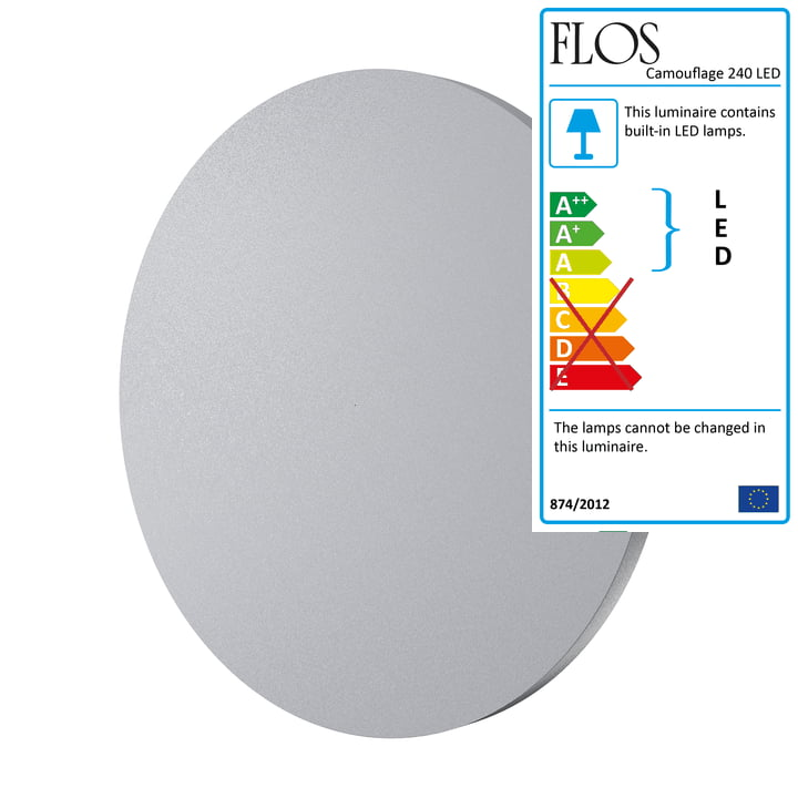 Camouflage 240 LED Wall Lamp by Flos in Grey