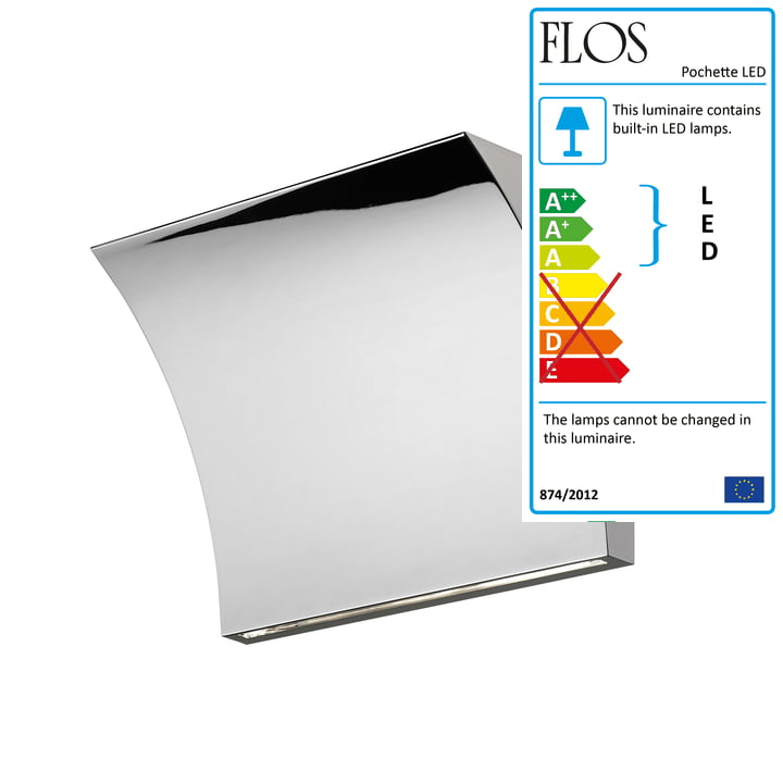 Pochette LED Up/Down Wall Lamp by Flos in Chrome