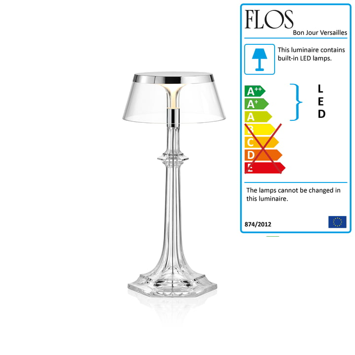 Bon Jour Versailles LED Table Lamp, H 27.2 cm, Chrome / Transparent Crown