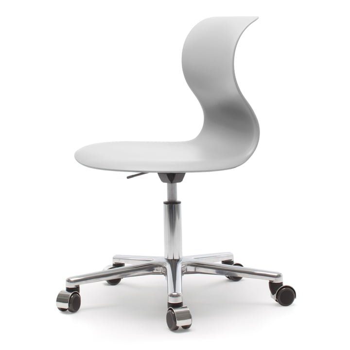 Flötotto - Pro 6 Swivel Chair with PRO-Matic, polished aluminium / granite grey, soft castors (with chrome cover)