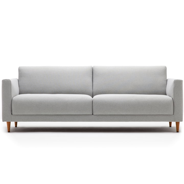 141 Sofa 3-seater, L 190 cm, freestyle, with cone base natural oak / cover light grey (3007)