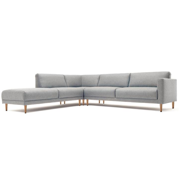 Freistil - 141 Corner Sofa Right, conical natural oak feet / light grey upholstery (3007)
