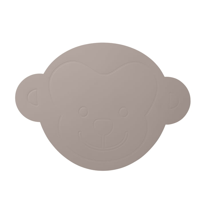 LindDNA - Children's Monkey Placemat, Cool Grey Softbuck