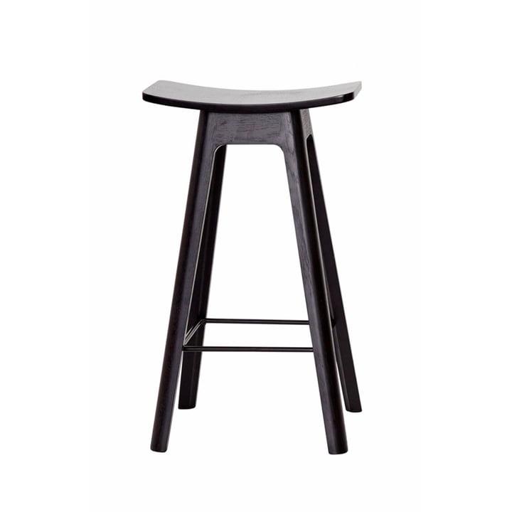 The Andersen Furniture - HC1 Bar Stool H 67 cm, Black Frame / Black Veneer Seat / Black Footrest