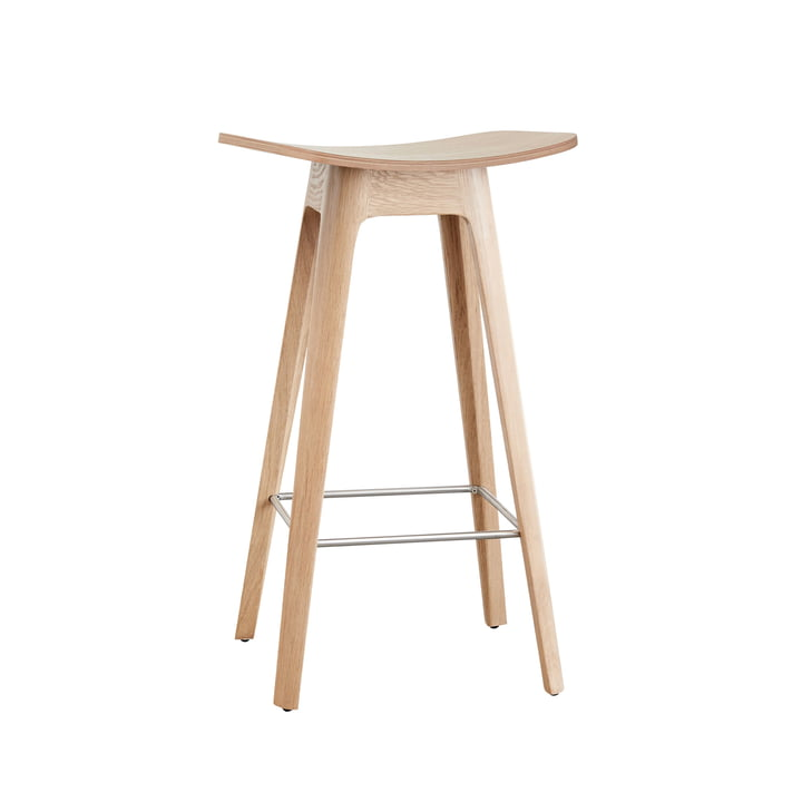 Andersen Furniture - HC1 Bar Stool H 67 cm, Oak Frame / Oak Veneer Seat / Black Footrest