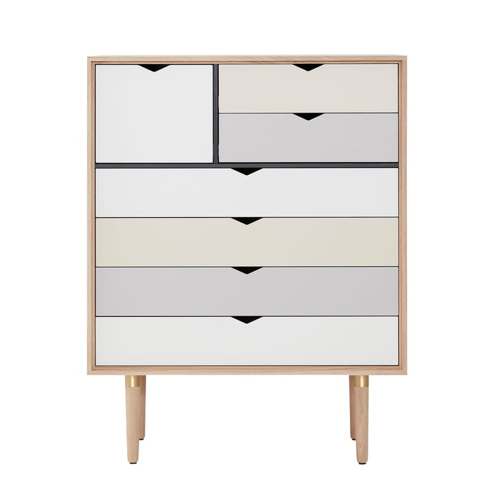 The Andersen Furniture - S8 Chest of Drawers, soaped oak / multicolour front