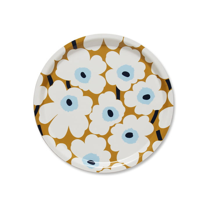 The Marimekko - Mini Unikko Round Tray Ø 31 cm in white / beige / blue