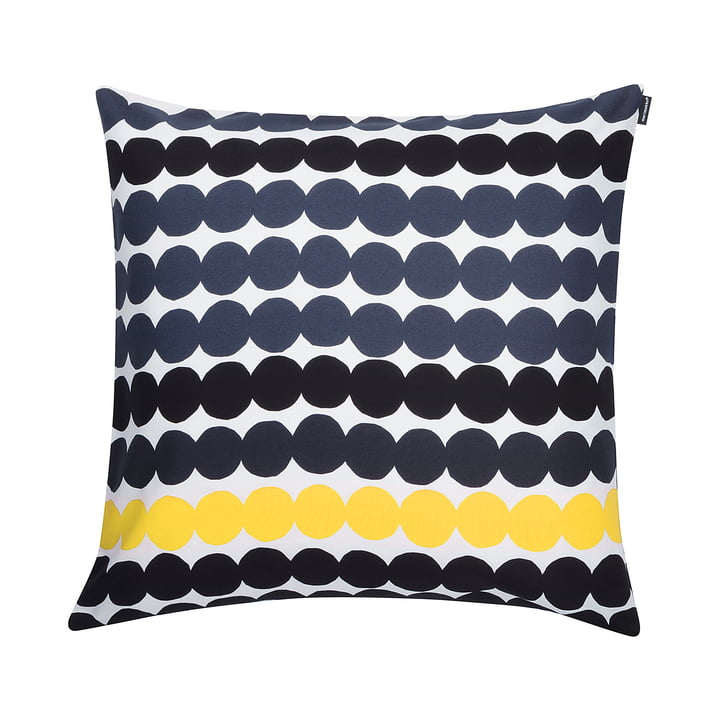 Marimekko - Räsymatto Cushion Cover 50 x 50 cm, Black / White / Yellow