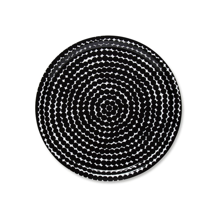 The Marimekko - Räsymatto Tray, Round Ø 31 cm in Black / White