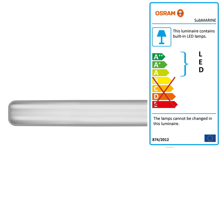 The Osram - SubMARINE damp-proof lamp with integrated LED module, IP 65 / cool white 4000 K, 60 cm