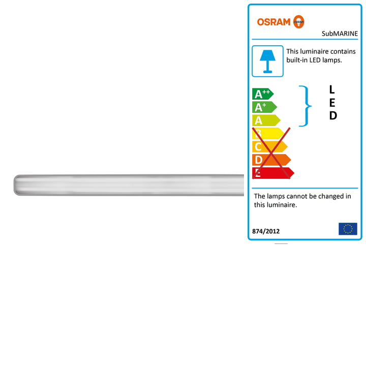 The Osram - SubMARINE damp-proof lamp with integrated LED module, IP 65 / cool white 4000 K, 120 cm