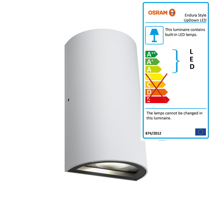 Endura Style UpDown LED Wall Lamp Outdoor, IP 44/ warm white 3000K by Osram in White