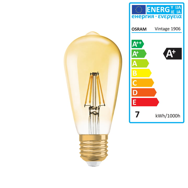 Osram - Vintage 1906 Classic Edison LED Lightbulb, 6,5W / E27, Warm White 2400 K, dimmable by Osram