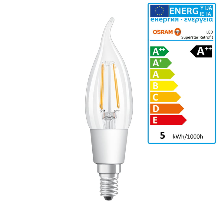 Osram - Retrofit Classic BA40 Filament LED lightbulb, E14 / 4,5 W, warm white 2700K, 470 lm, dimmable / clear