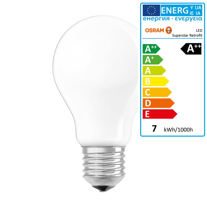 Osram - Superstar Classic A60 Filament LED lightbulb, E27 / 6,5 W, warm white2700K, 806 lm, dimmable / matt