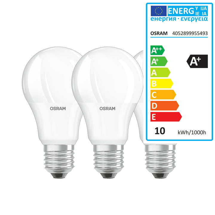 Osram - LED Base Retro A60 Lightbulb, E27 / 9 W, Warm White 2700 K, 806 lm, Matt (set of 3)