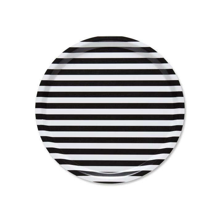 Tasaraita Tray Ø 31 cm by Marimekko in Black / White