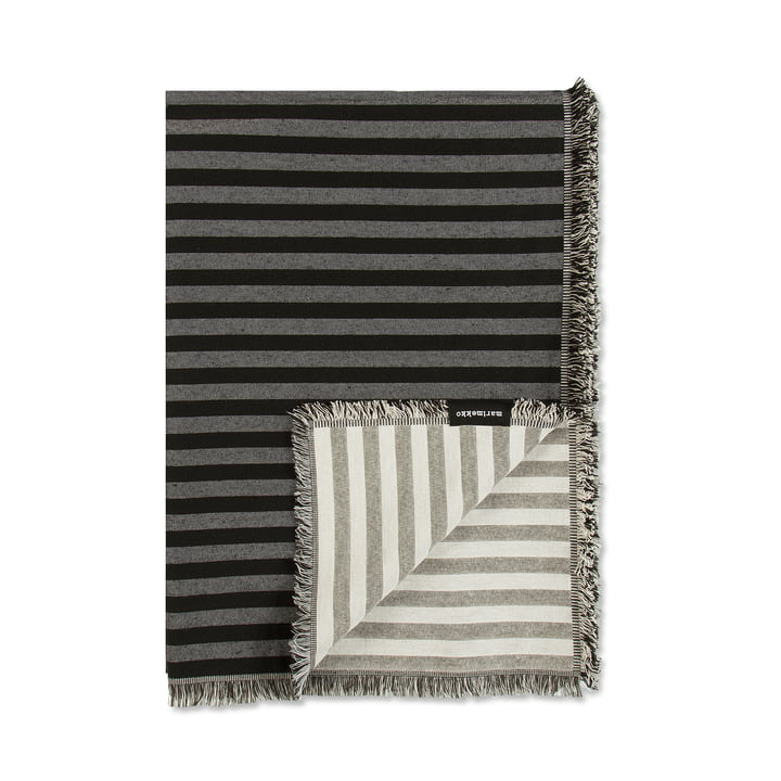 Tasaraita Woollen Blanket 130 x 180 cm by Marimekko in Black / Grey