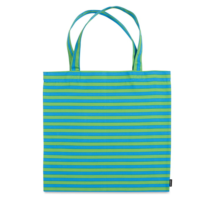 Tasaraita Shopping Bag by Marimekko in Green / Turquoise