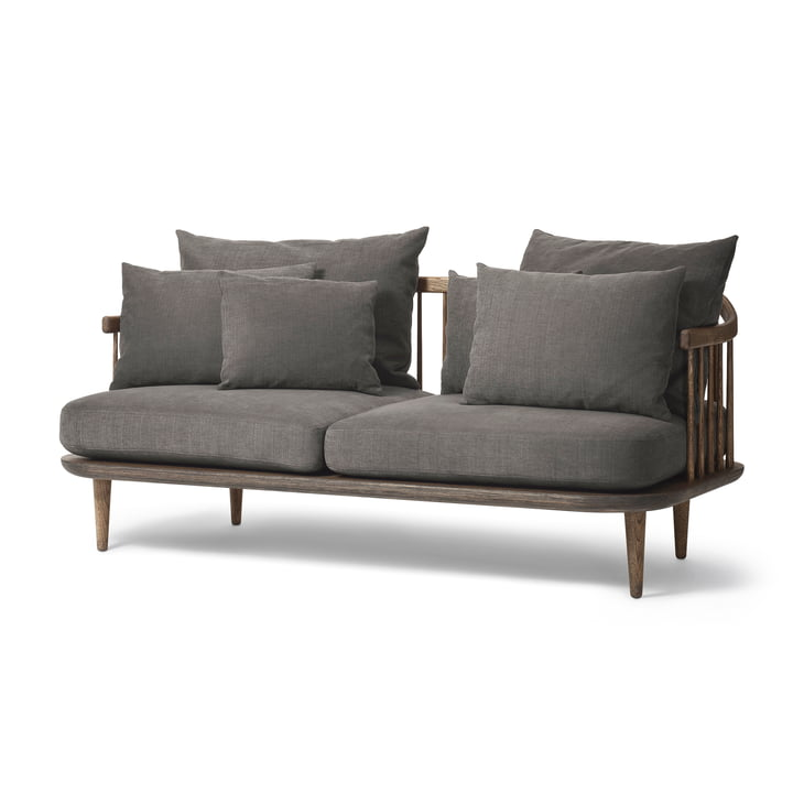 The &Tradition - FLY 2-Seater Sofa SC2, Smoked Oak Base / Hot Madison 093