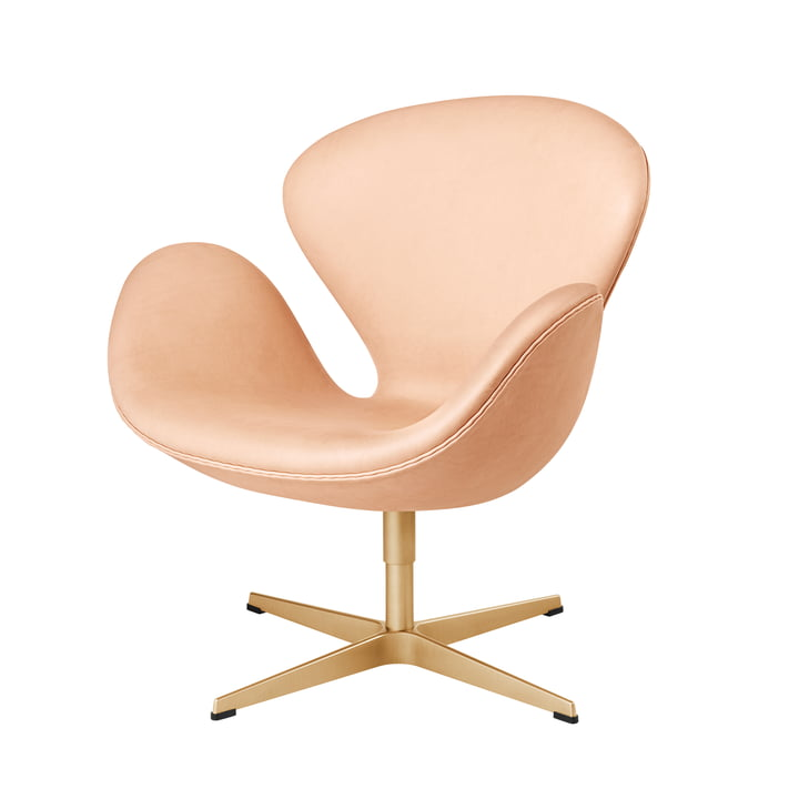 The Fritz Hansen - Swan Chair in Pure Leather / Gold (60 Year Limited Edition)