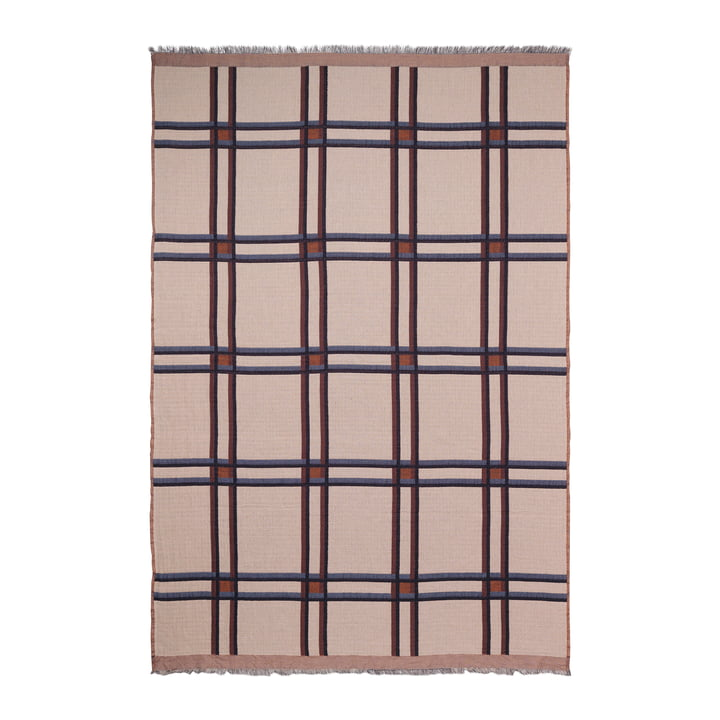 Checked Wool Blanket by ferm Living Beige