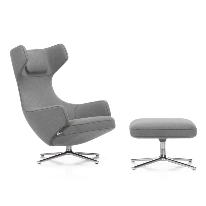 Grand Repos armchair and ottoman by Vitra in light grey (01 pebble) / polished aluminium (felt glider)