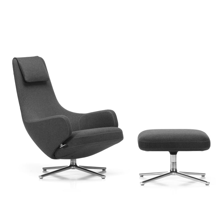 Vitra - Repos Chair and Ottoman, Cosy grey (10 classic grey) / polished aluminium (felt glides)