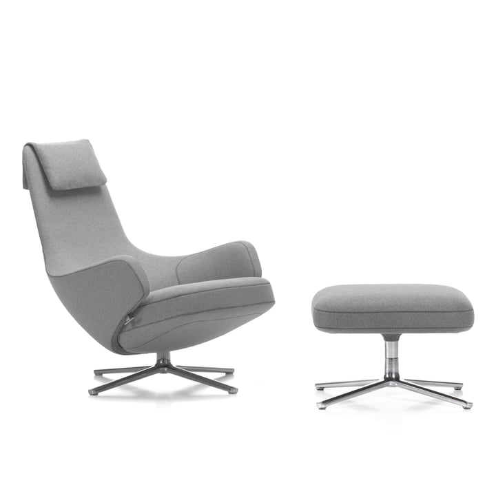 Vitra - Repos Chair and Ottoman, Cosy light grey (01 pebble grey) / polished aluminium (felt glides)