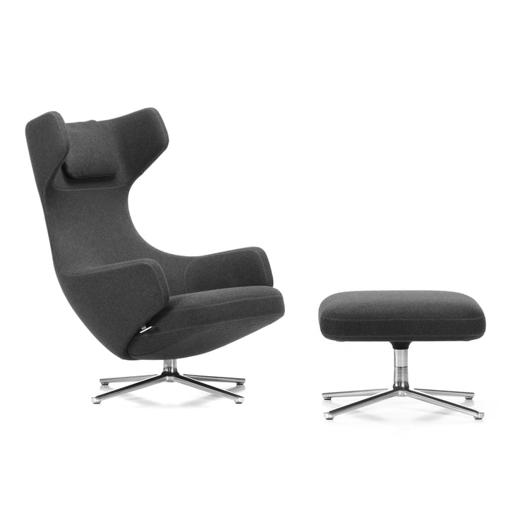 Vitra - Grand Repos Armchair and Ottoman, cosy gray (10 classic gray) / polished aluminium (felt glides)