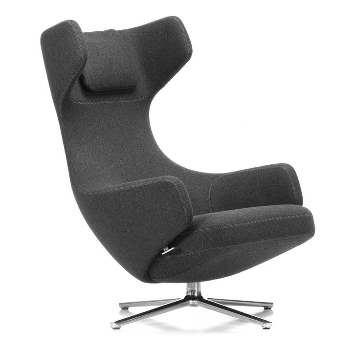 Vitra - Grand Repos Armchair, cosy gray (10 classic gray) / polished aluminium (felt glides)