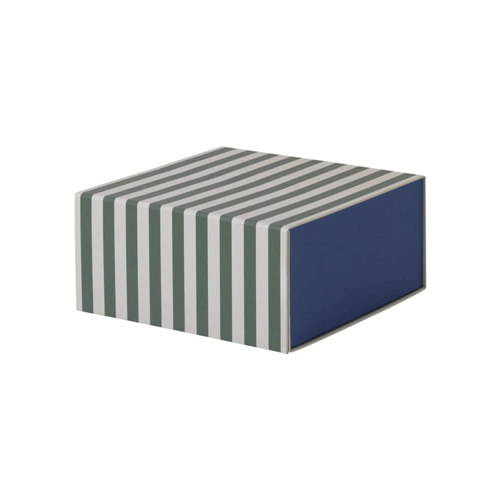 Striped Box Square by ferm Living in Green / Cream White
