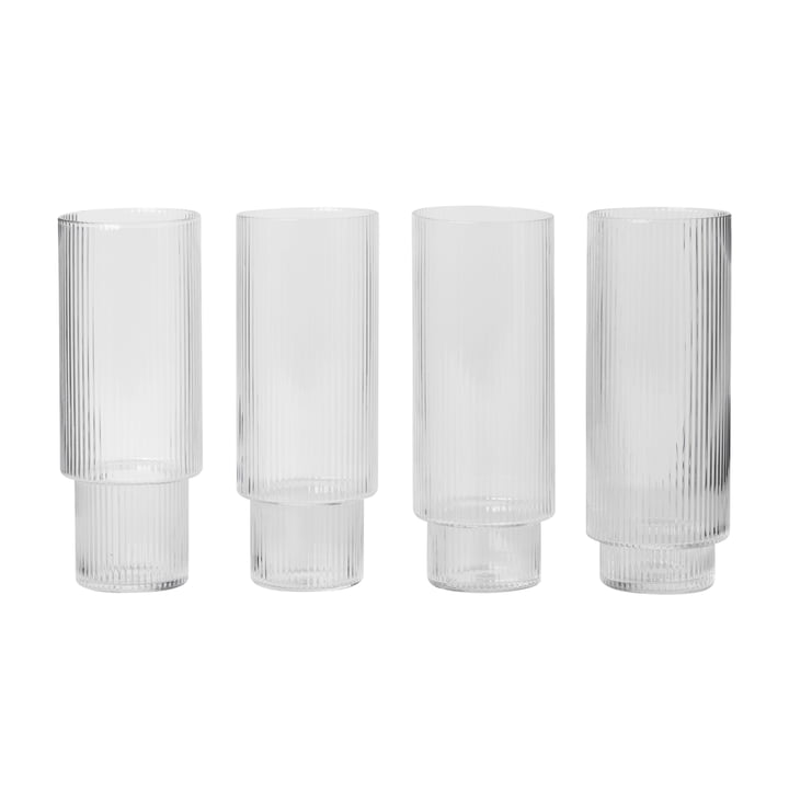 Ripple long drink glasses (set of 4) by ferm Living