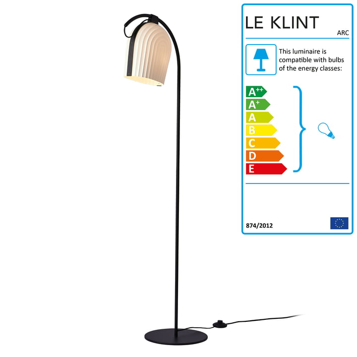 ARC floor lamp by Le Klint in black oak / white lampshade