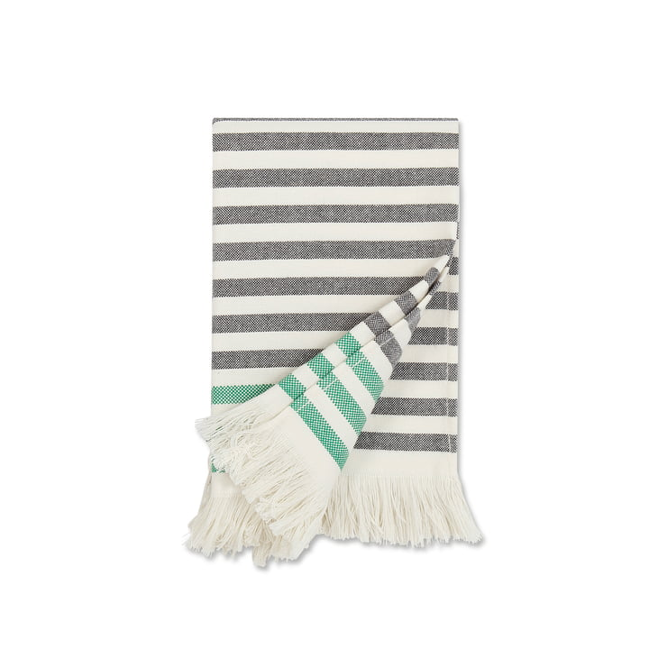 Tasaraita Hand Towel 50 x 100 cm by Marimekko in black / white / green