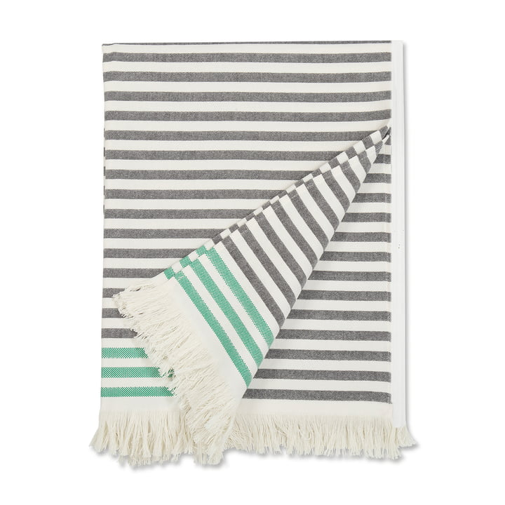 Isolated product image of the Tasaraita Towel 100 x 180 cm by Marimekko in black / white / green.