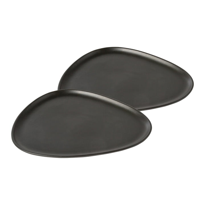 Curve Stoneware Dinner 30 x 26 cm (set of 2) by LindDNA in black