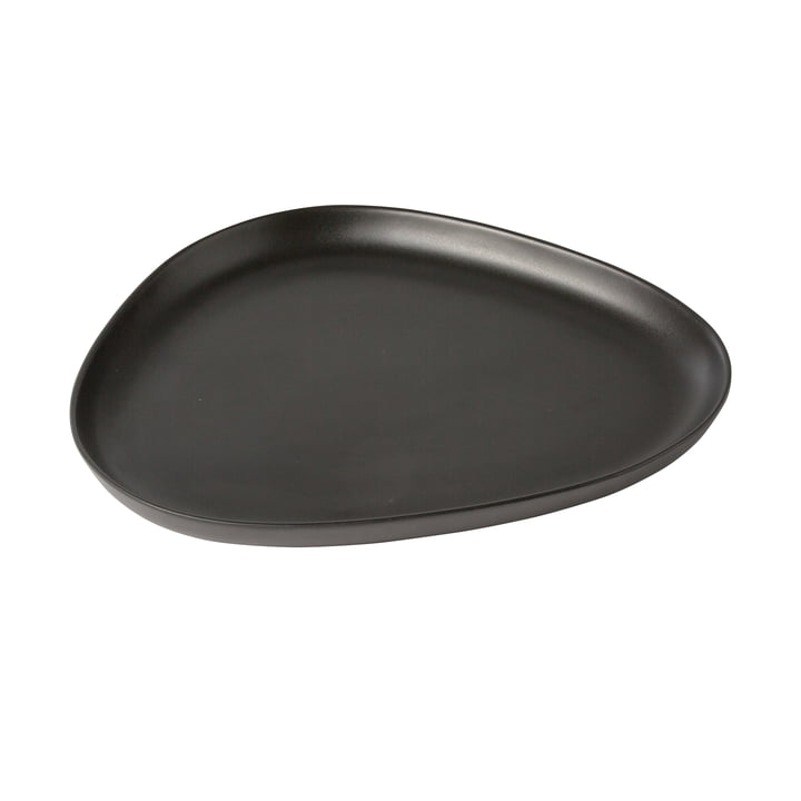 Curve Stoneware Platter 35 x 30 cm from LindDNA in black